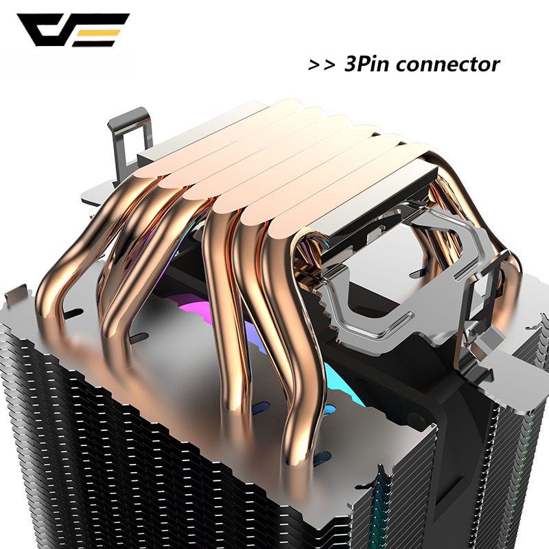 DarkFlash L6 двухбашенный радиатор, кулер для процессора, 6 тепловых трубок, 3pin 90 мм ШИМ вентилятор RGB светодиодный кулер для ЦП для Intel LGA 2011 и AMD
