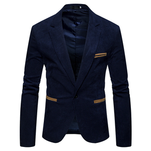 Image 4 - חדש סתיו גברים מזדמן חליפת מעיל גברים מוצק צבע קורדרוי צמר בד חליפת טרייל כיס כפתור לקשט גברים של חליפה מעיל