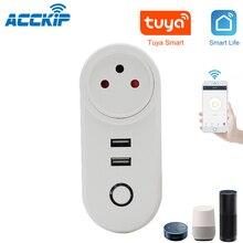 ACCKIP USB שקע Wifi חכם תקע ישראל אלחוטי כוח חכם Wi fi לשקע שלט רחוק טיימר Tuya חכם מטען Alexa Google