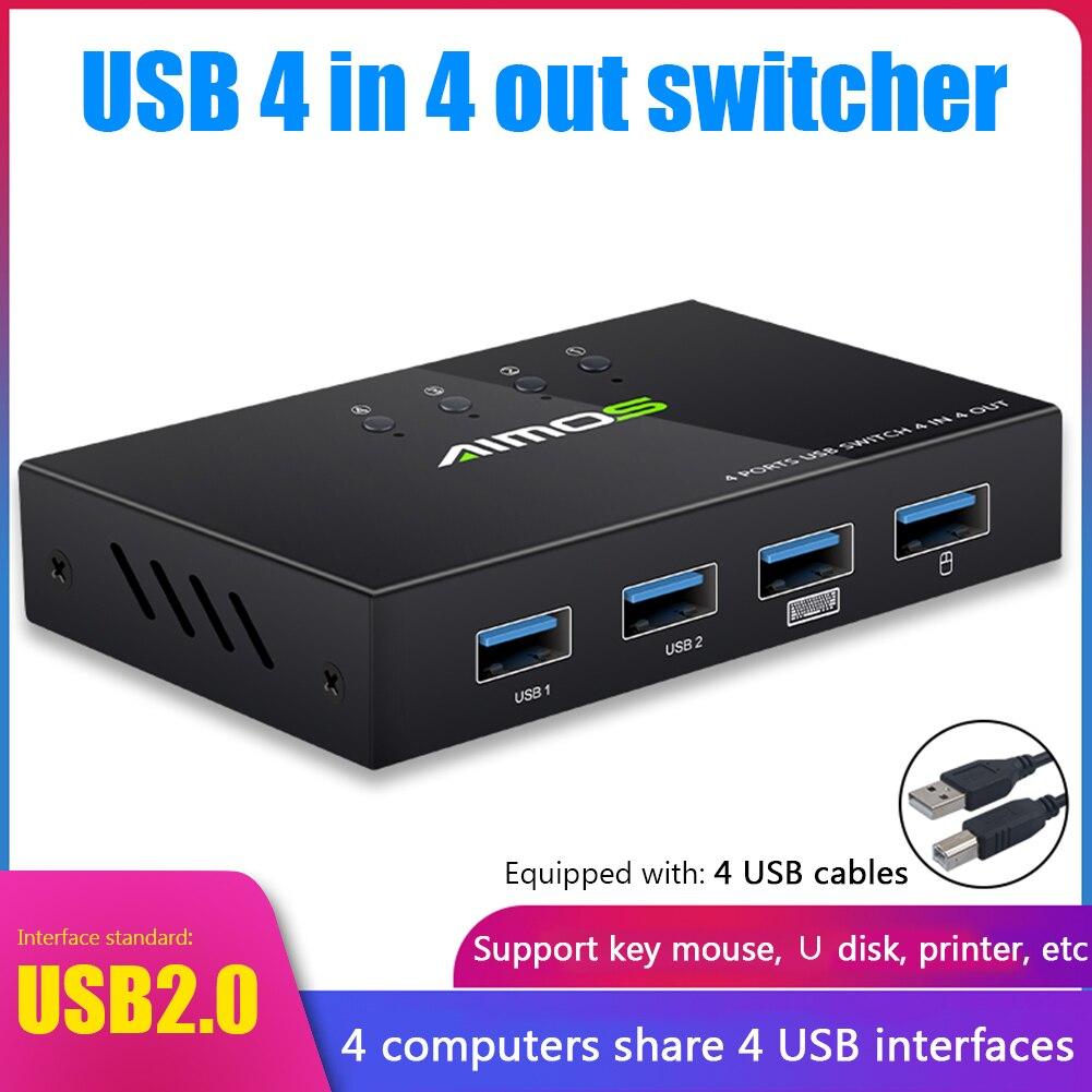 4 порта KVM USB Switch монитор принтера 4 в 4 выхода расширитель разветвитель 4 шт. совместное использование 4 устройств USB 2,0 расширитель коробка