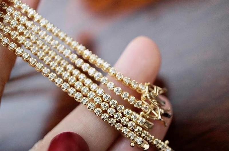 LUOWEND 18K Au750 Solid Yellow Gold Bracelet Real Natural Diamond Bracelet Fashion Tennis Bracelet Fine Jewelry Customize 4