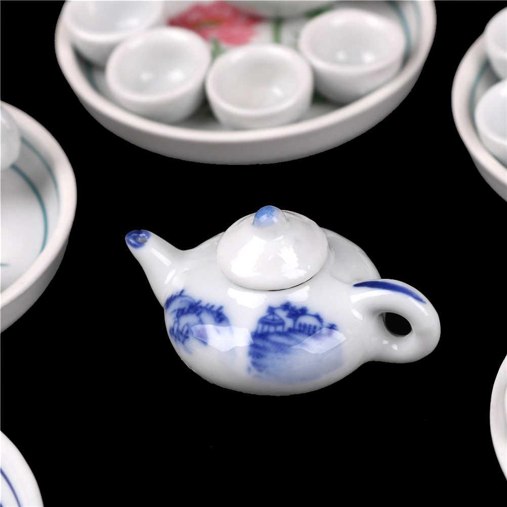 Kualitas Tinggi 6 Buah Miniatur Rumah Boneka Makan Porselen Tea Set Tableware Piala Piring Colorful Floral Cetak