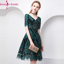 Cocktail-Dress Beauty-Emily Designer Green Sequined Party Summer Bling Fashion V-Neck