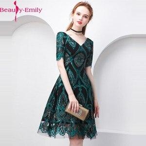 Image 1 - Женское коктейльное платье с коротким рукавом, V образным вырезом и блестками