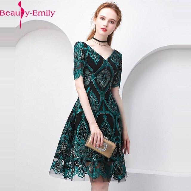 美容エミリーグリーンカクテルドレス夏vネック半袖ブリンブリンスパンコール女性パーティーファッションデザイナーカクテルドレス