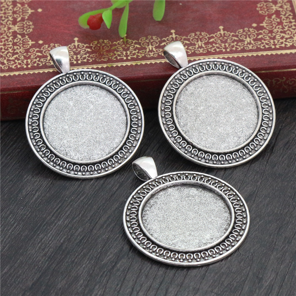 New Fashion  3pcs 25mm Inner Size Antique Silver Plated Classical  Style Cabochon Base Setting Charms Pendant (A3-50)