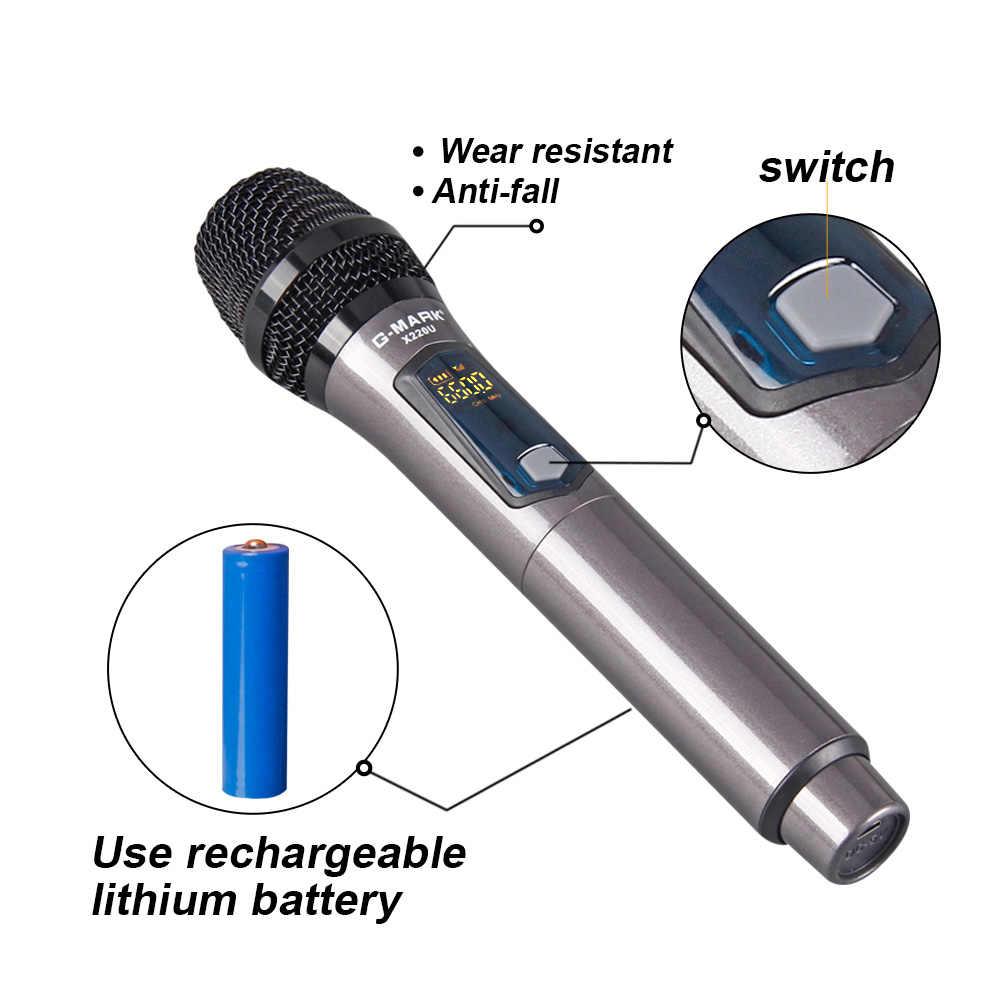 G-MARK X220U UHF MICRÓFONO INALÁMBRICO grabación Karaoke micrófono portátil 2 canales batería de litio 50m distancia de recepción