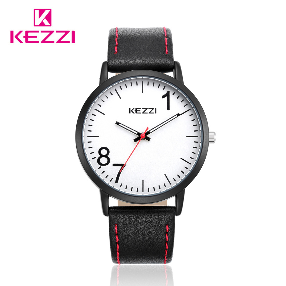 KEZZI Brand Leather Men Women Watches Big Dial Casual Quartz Wristwatches Waterproof Couple Watch For Student Relogio Montre