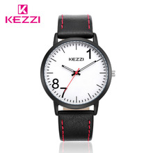 KEZZI Brand Leather Men Women Watches Big Dial Casual Quartz