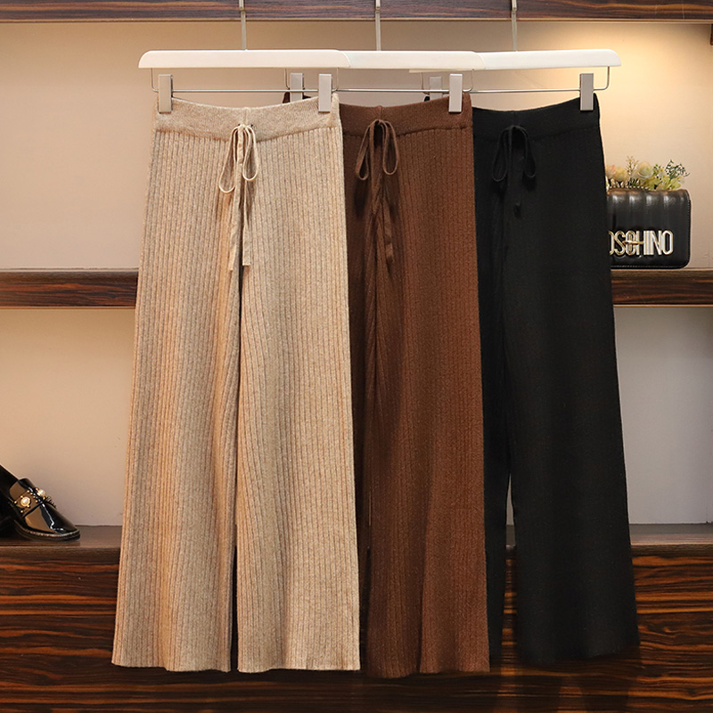 Women Plus Size Solid Color Hight Waist Pleated Knitted   Wide     Leg     Pants   Autumn Winter Casual Loose Straight Lace Up Slim Trousers