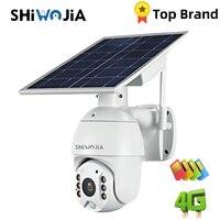 Shiwojia-Cámara de vigilancia exterior con panel solar, versión 4G, wifi, 1080P, alarma de casa inteligente, modo reposo largo, para granja, rancho y bosque