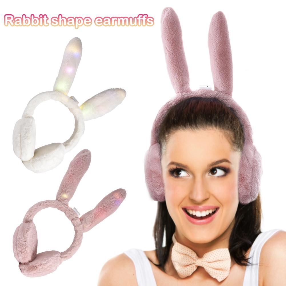 2019 Girl Women Rabbit Earmuffs Plush Fashion Luminous Winter Warm Earmuffs Windproof Ear Protection Outdoor Warmth