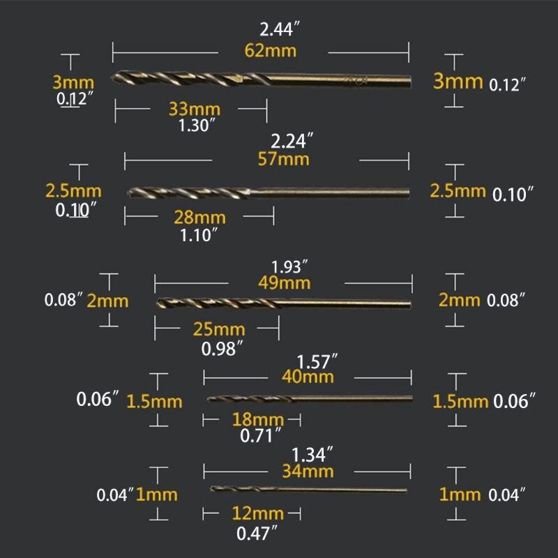 Купить с кэшбэком 10pcs Twist Drill Straight Shank High Speed Stainless Steel Die Cobalt Metal