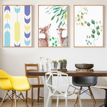 Nordic Style Deer In Spring Wall Art Poster Canvas Print for House Company Office Living Room Decoration Painting