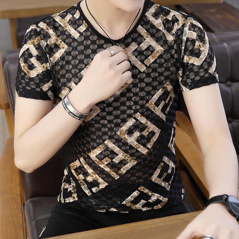 Ice Silk T-shirts Men 2020 Summer Fashion Casual Slim Fit Tshirts Male Streetwear Breathable Quick Dry Short Sleeve Shirts