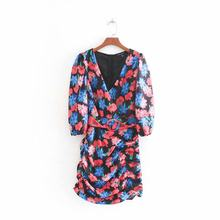 New elegant women v neck floral print sashes slimming mini dress female hip package pleats vestidos autumn party dresses DS2727(China)