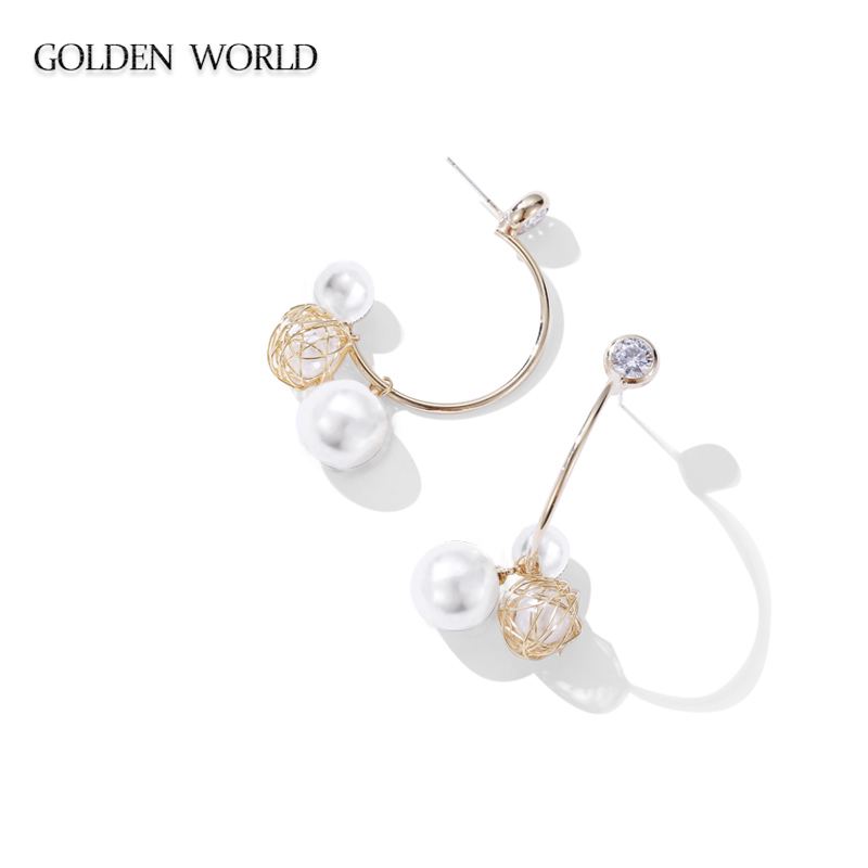 High level pearl hollowed out earrings female French elegant network celebrity earrings 2019 new trendy temperament long earnail in Drop Earrings from Jewelry Accessories