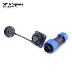 Sp16 conector ip68 conector de cabo à prova dip68 água plug & soquete macho e fêmea 2 3 4 5 6 7 9 pinos praça plugue de aviação diy você