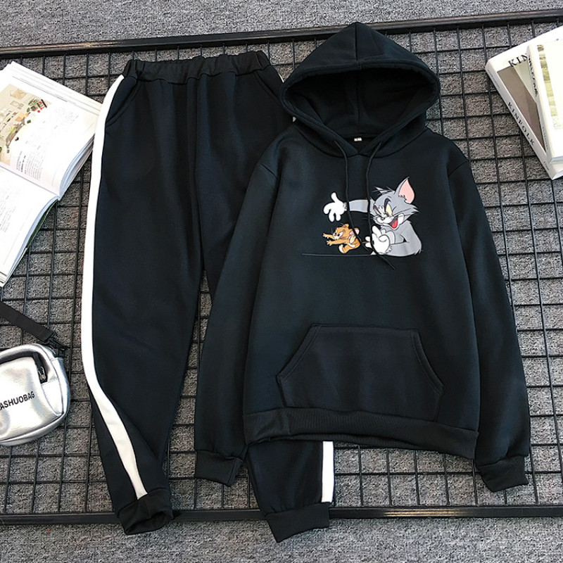 2019 Winter Cute Cartoon Mouse Print 2 Piece Set Women 4XL Hoodies Sweatshirt +long Pants Kawaii Camiseta Mujer Tracksuits New