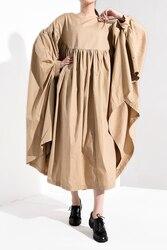 [EAM] Women Oversize Pleated Big Hem Dress New Round Neck Three-quarter Sleeve Loose Fit Fashion Tide Spring Autumn 2019 1A456 4