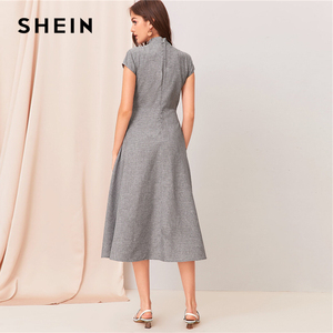 Image 2 - SHEIN Grey Cut out Twist Front Cap Sleeve Flare Long Dress Women Summer Stand Collar Zipper Back Elegant Empire A Line Dresses