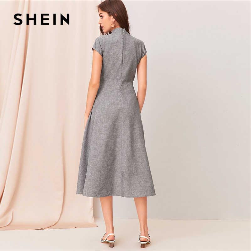 SHEIN, серое, с вырезом, с закручивающимся спереди, с коротким рукавом, расклешенное длинное платье для женщин, летнее, с воротником-стойкой, на молнии, сзади, элегантное платье трапециевидной формы