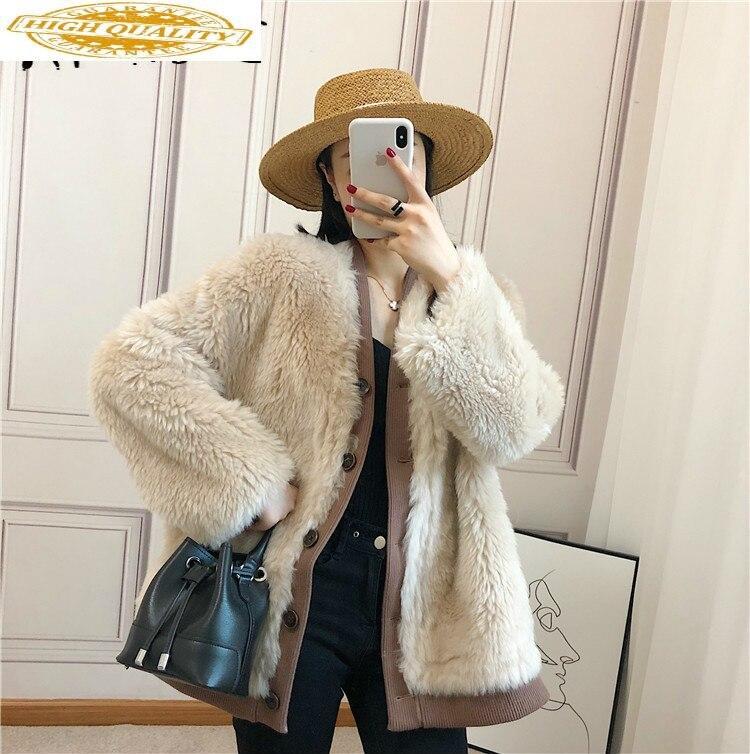Autumn Winter Coat Women Clothes 2019 Sheep Shearing Real Fur Coat 100% Wool Jacket Women Korean Fashion Fur Tops Xl905 YY1902