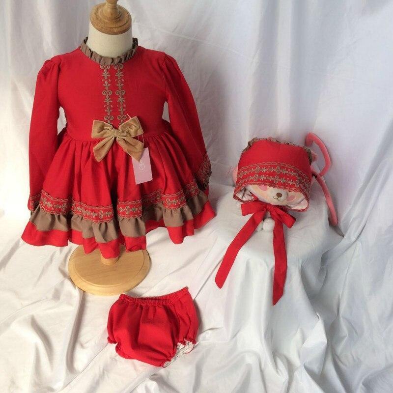 2019 printemps enfants vêtements filles robe espagnole princesse Lolita douce robe rouge enfant en bas âge fille coton vêtements enfants robe de noël