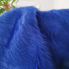 High grade 9cm long hair blue faux fur fabric for winter coat vest cosplay stage decor free shipping 150*50cm 1piece SP3761(China)