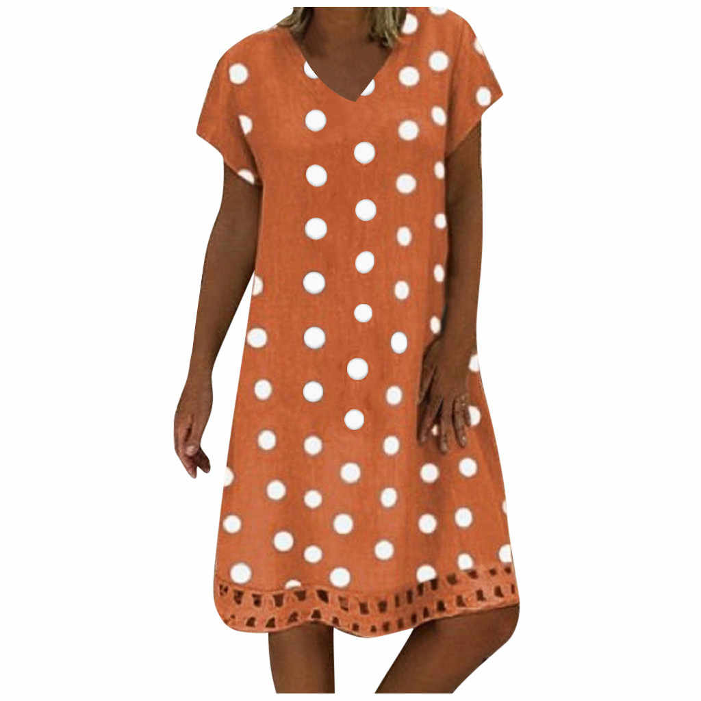 # H30 여성 여름 짧은 소매 코튼 린넨 드레스 Vestido 로브 Kaftan Femme 빈티지 V 넥 도트 인쇄 파티 Sundress 5XL