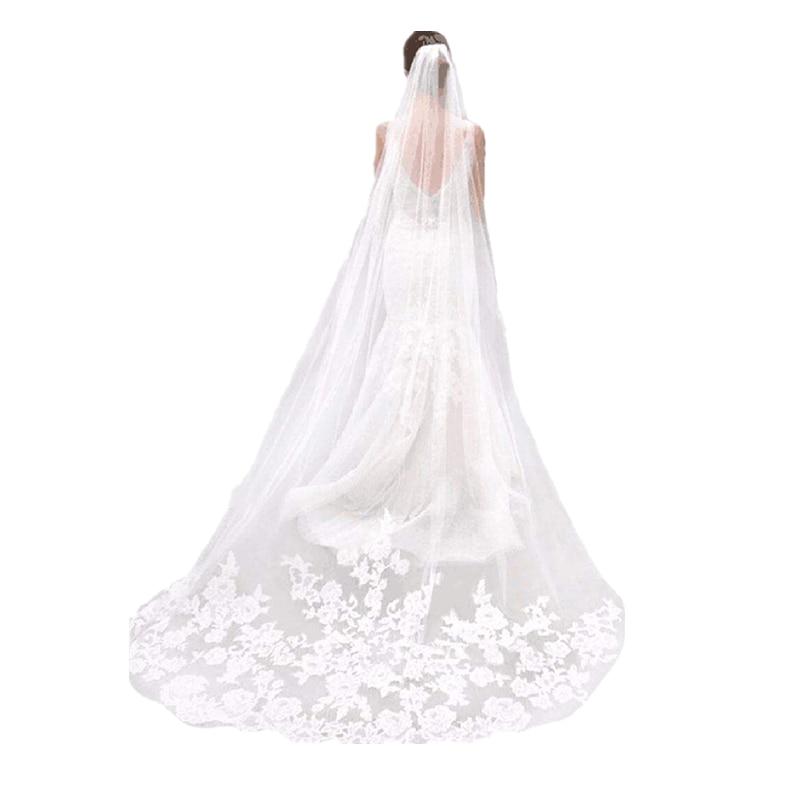 Wedding Veils Ivory White Champagne Red Drop Veil Bridal Accessories Fingertip