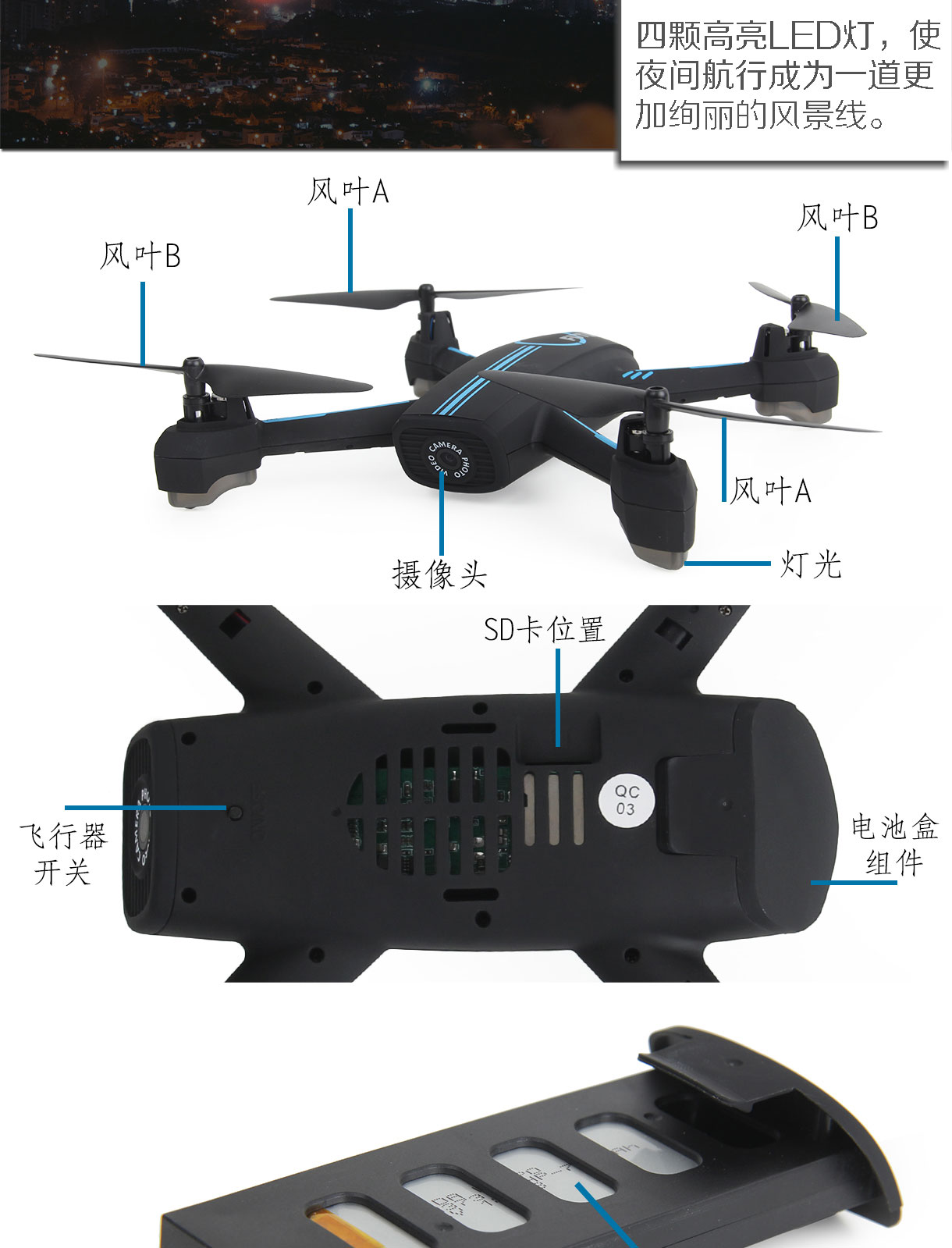 WIFI FPV RC Drone GPS Mining Punto Drone 528 RC Quadcopter Full HD 720P della Macchina Fotografica di una chiave di prendere off /landing/stop Volo Stabile - 6