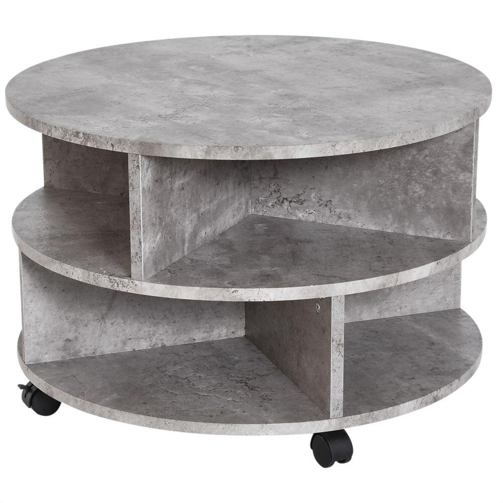 HOMCOM Coffee Table Modern Effect Cement With Storage Box Living Room Coffee Wood Chipboard Φ60X39.5 Cm Gray