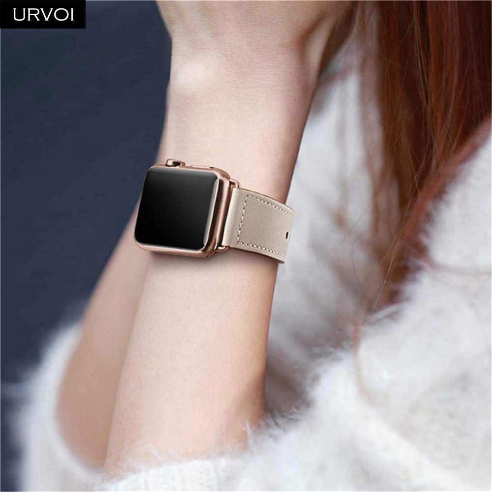 URVOI pasmo dla apple watch series 5/4 3/2/1 pasek do iwatch 40 44mm opaska sportowa prawdziwej Swift skóry Pin i na rzep ręcznie robione