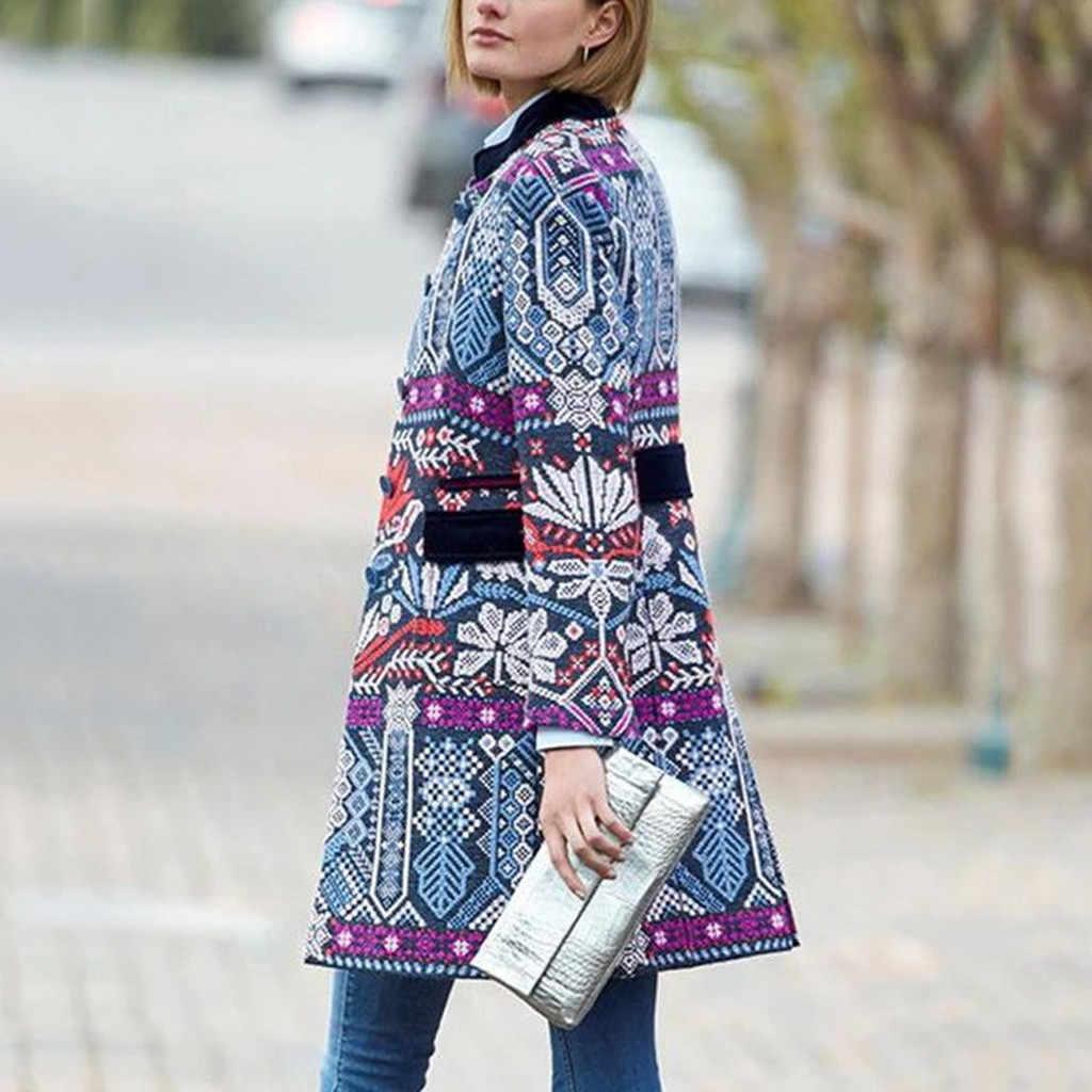 Kadınlar yeni kış sıcak ceket ceket Vintage baskı standı yaka düğmeler cepler uzun kollu uzun Tops takım elbise ceket #1023