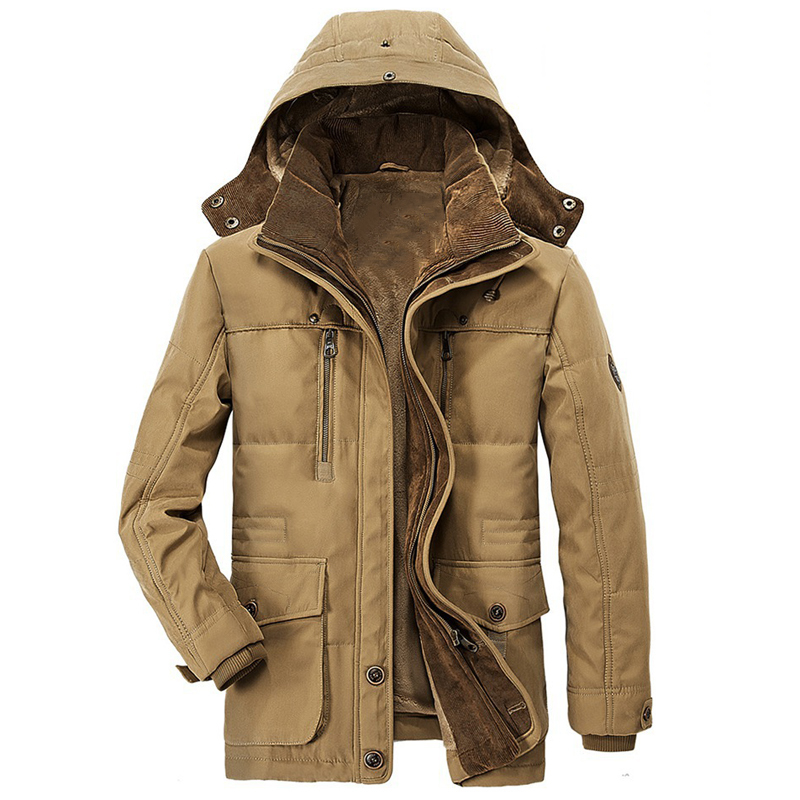 Military Designer Winter Hooded Mens Coats Plus 7XL Streetwear European And American Style Army Overcoats Khaki Jackets A878