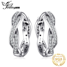 JewelryPalace 925 Sterling Silver Earring Stud Earrings Cubic Zirconia Infinity Love Intervened Lines Beautiful  Wedding Jewelry