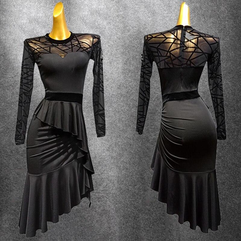 Special Latin Dance Dress Women'S Perty Dress Dance Performance Costume New Long-Sleeved Dress Black Latin Dress Skirt BL1334