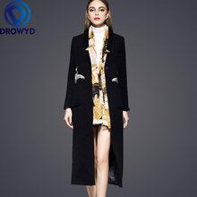Женское винтажное шерстяное пальто свободное однобортное с вышивкой