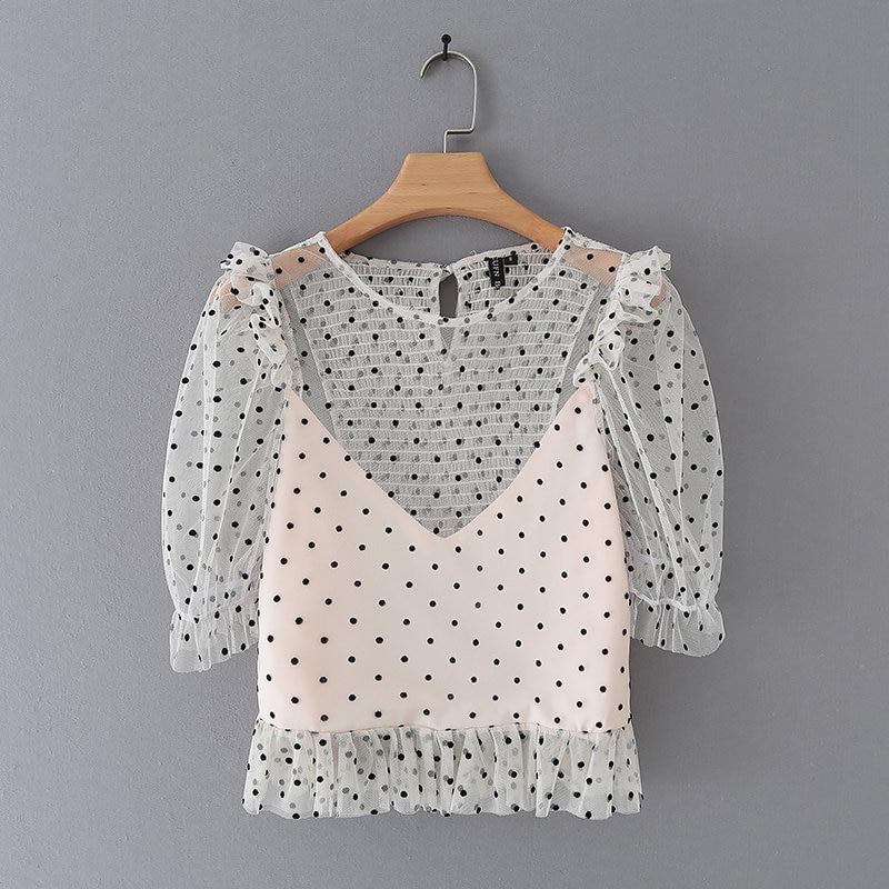 New Women Sweet Polka Dot Print Pleated Ruffles Blouses Shirts Women Summer Net Yarn Chemise Blusas Chic Elastic Tops LS3893