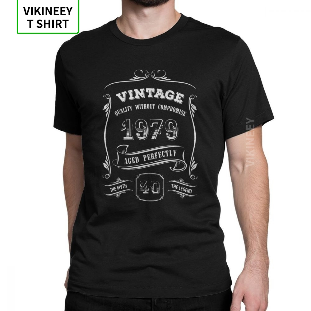 Vintage 1979 <font><b>40th</b></font> <font><b>Birthday</b></font> T-Shirt Anniversary Gift <font><b>Idea</b></font> Man T Shirt Slim Fit 100% Cotton Short Sleeve Tees Wholesale Clothes image