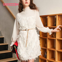 UGOCCAM High Neck Dress Solid Chiffon White Tassel Elegant Sashes Creamy-white Elastic Long Flower Sleeve High Waist(China)