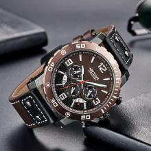 цена Creative MEGIR Chronograph Sport Men Watch Leather Strap Army Military Wrist Watches Clock Men Relogio Masculino Quartz Watch онлайн в 2017 году