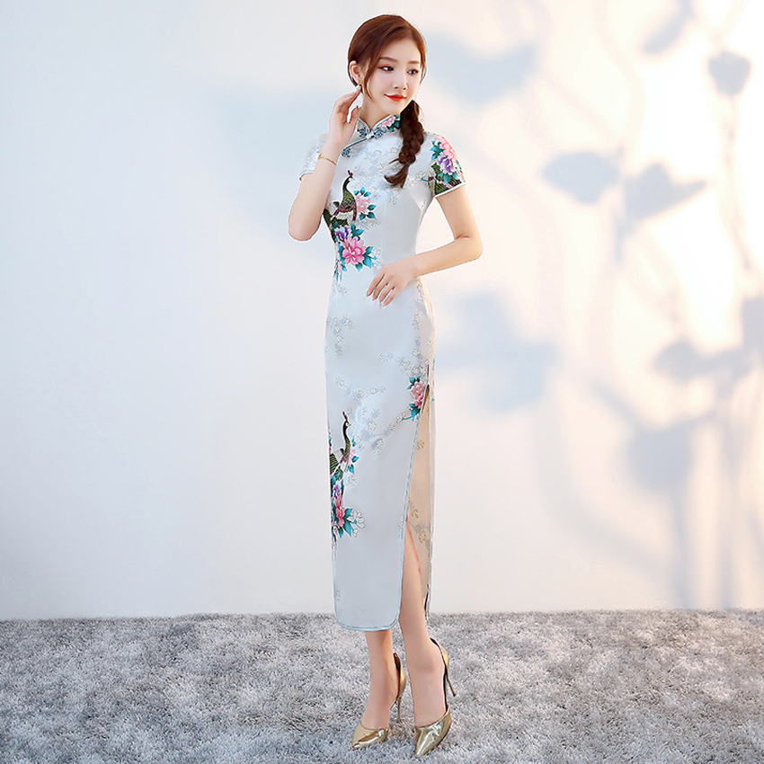 Longue Robe En Satin Pour Femmes Cheongsam Robe Traditionnelle Chinoise Moulante Robe Asiatique Pour Le Mariage Pour Le Nouvel An Leather Bag