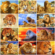AZQSD Frameless DIY Painting By Numbers Kits Colorful Lions Animals Hand Painted Oil Paint By Numbers For Home Decor Art