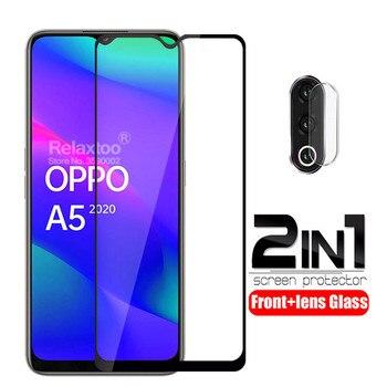 Перейти на Алиэкспресс и купить 2 в 1 Защитное стекло для объектива камеры для oppo a5 2020 Защита экрана для oppo a9 2020 a 5 9 закаленное стекло полное покрытие пленка