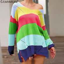 2019 Autumn Pullovers Sweaters Women Striped O-Neck fashion Casual cute Rainbow Female Sweet knitted Sweater
