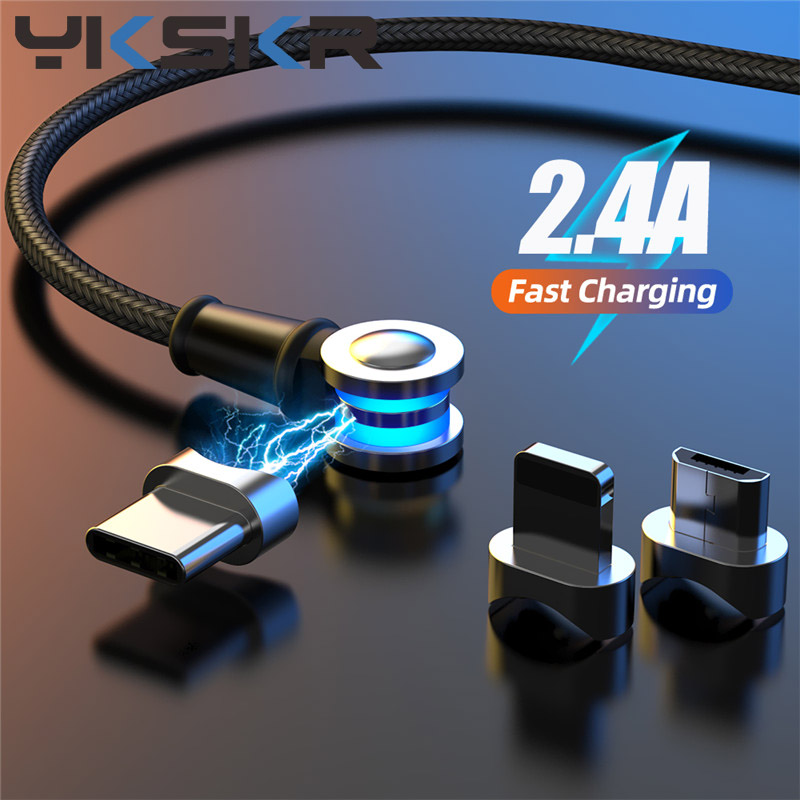 3A 180+360° Rotate Magnetic Phone Cable Micro USB Type C Charger Magnet Charging Cord For IPhone 11 Pro XS Max Samsung Xiaomi