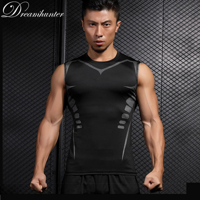 Compression Shirts Sleeveless Tank Tops Men Quick Dry Vests Bodybuild Breathable Fitness Tops Workout Clothings Sportswear Gym