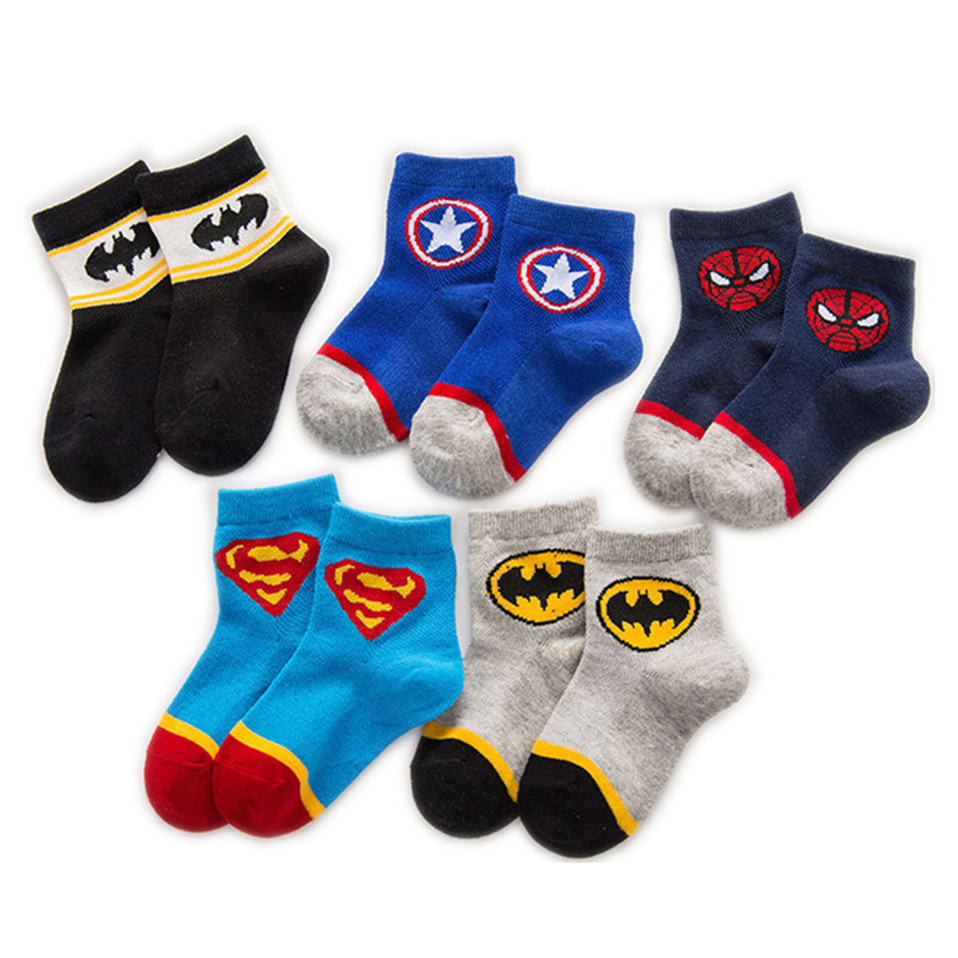AMOZAE 5 Pairs Baby Cotton Socks Breathable Cartoon Spiderman Batman Fashion Baby Boys Girls Socks For 1-12  Years